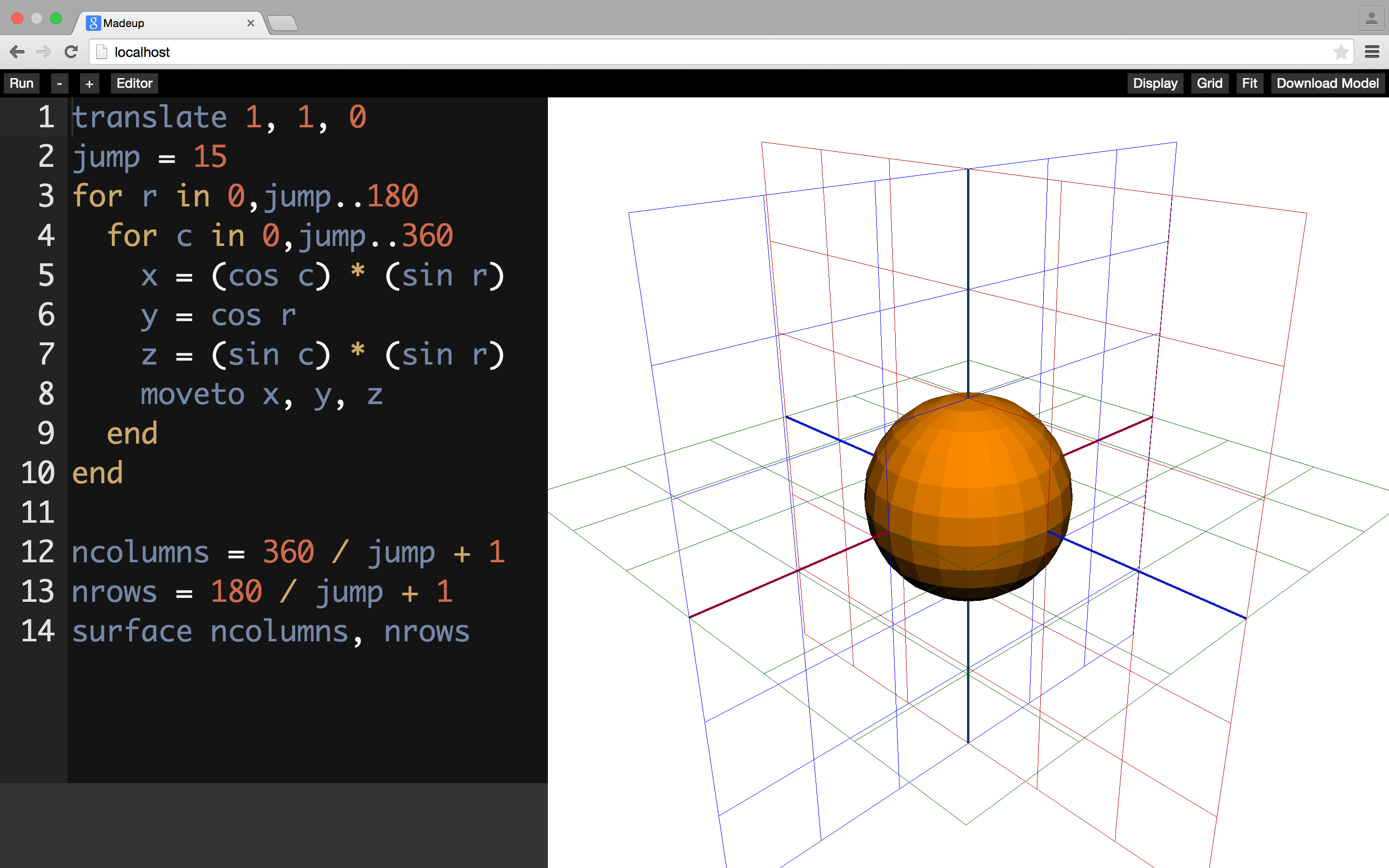 Grid and axis drawing is now available in the web IDE.