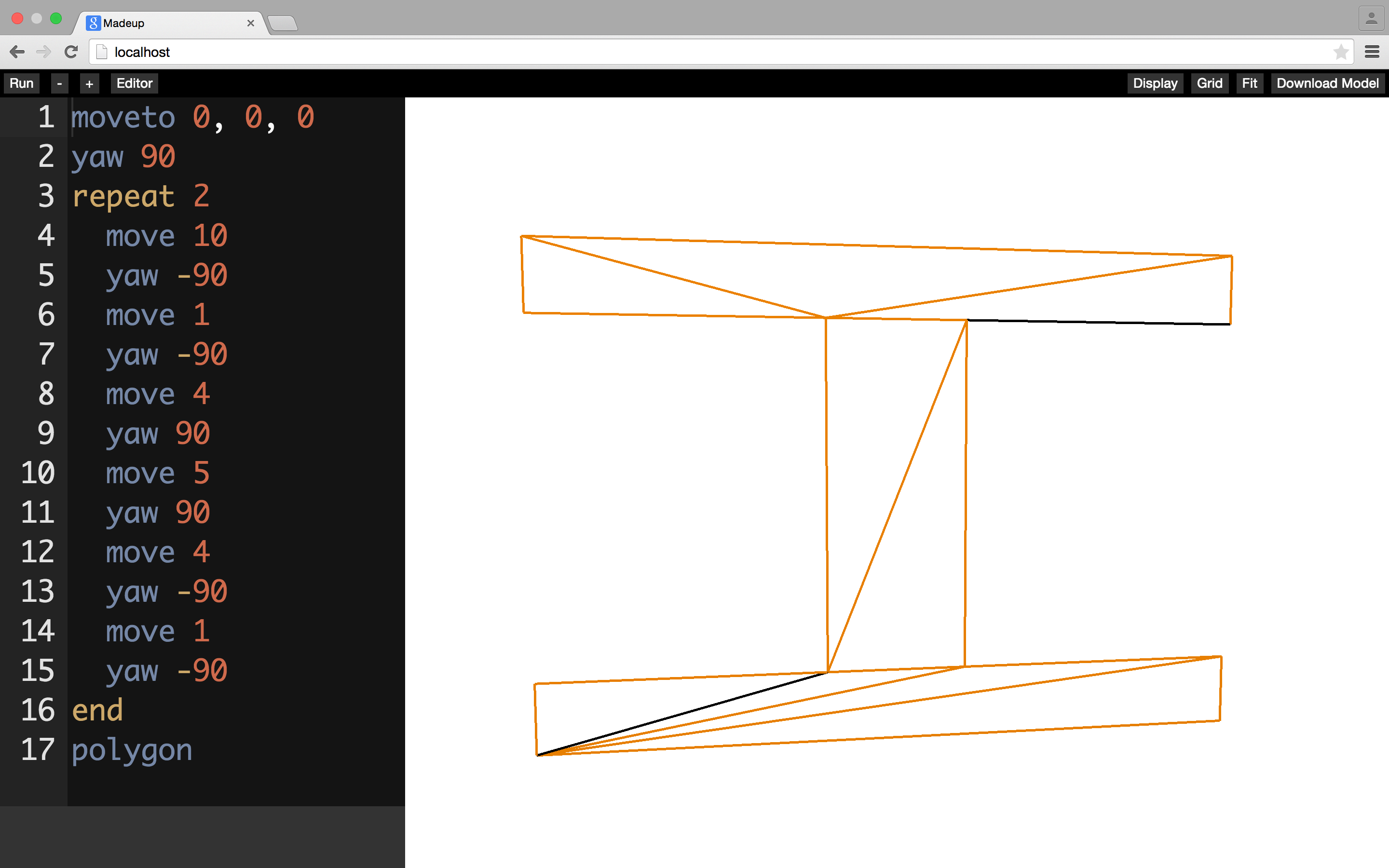 Madeup now features a simple polygon generator, which triangulates the path of visited vertices.