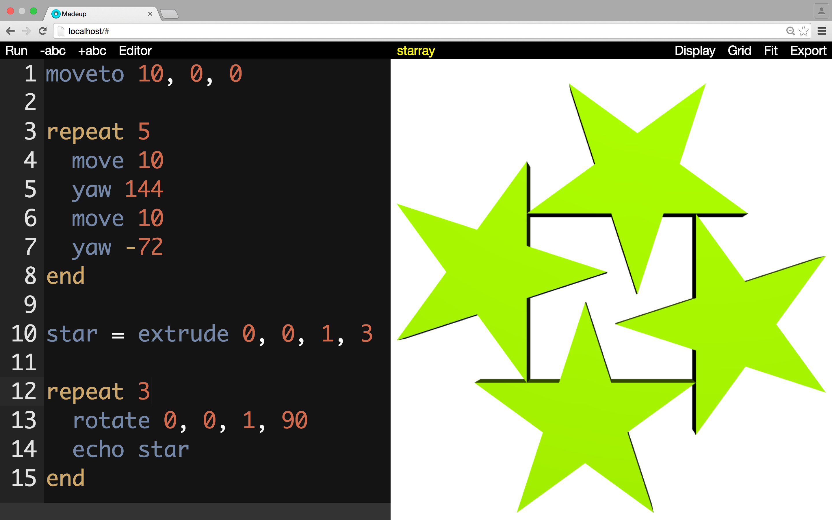 We store the extruded star and then reissue it a few more times under an increasing rotation.