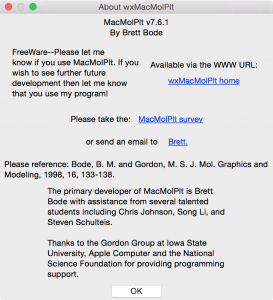 The about box from MacMolPlt.