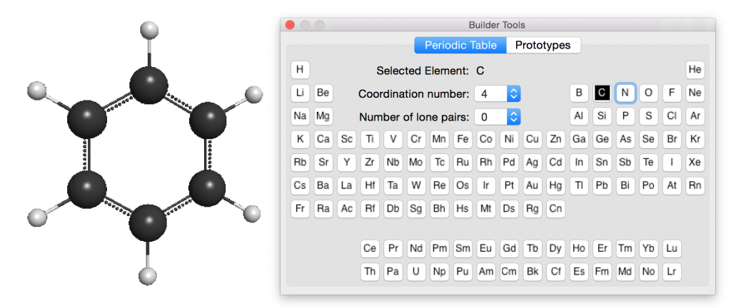 """A benzene model along with the """"brush"""" palette---the periodic table."""