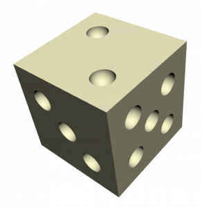 A d6, which is a cube minus 21 hemispheres.