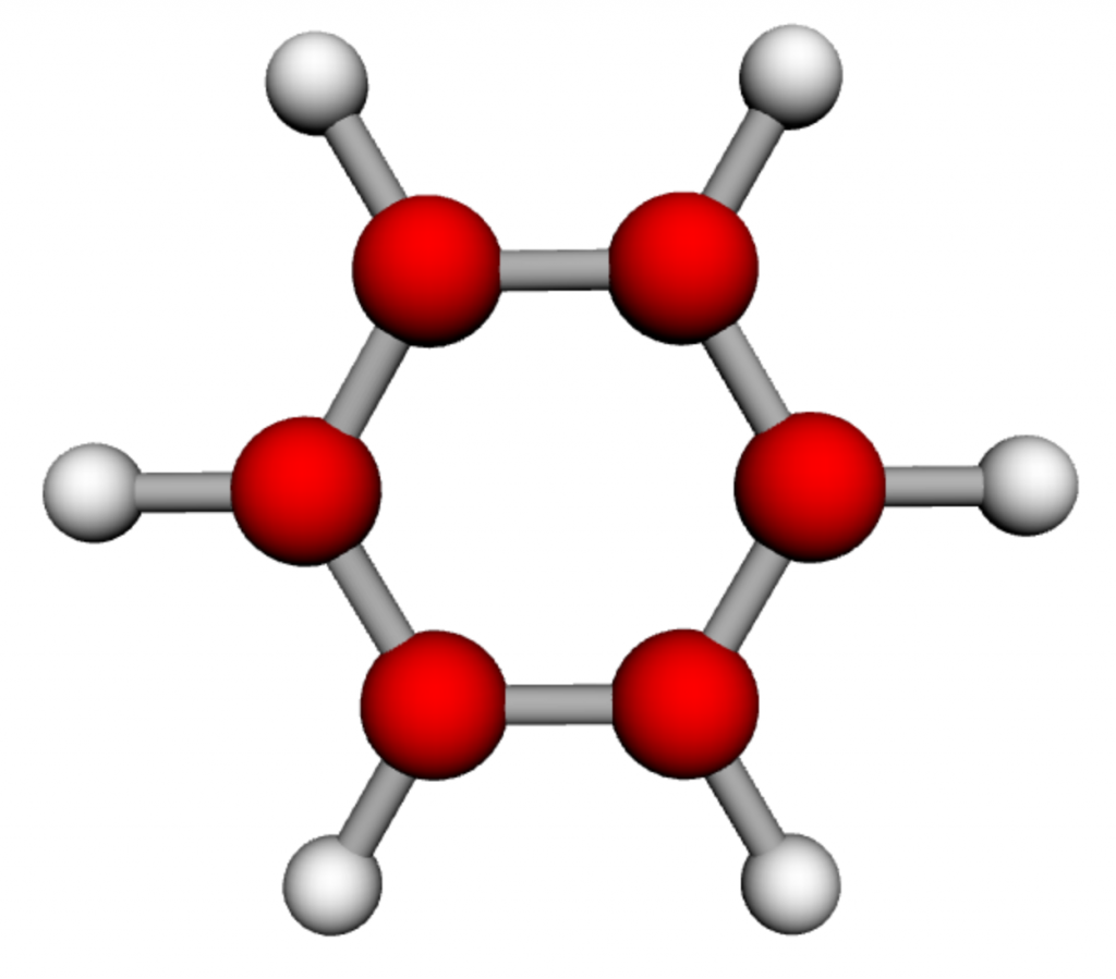Benzene. C6H6. Known by the state of California to cause cancer.