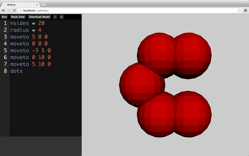 My initial C, bulbously represented by five adjoining spheres.