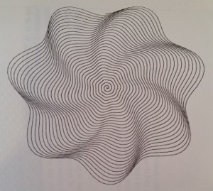 A spiral from Robert Dixon's Mathographics. It wanted to be 3D.